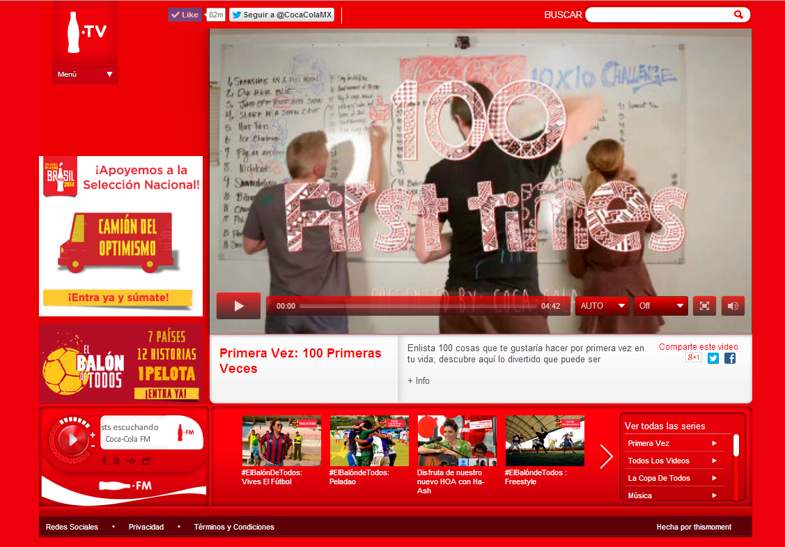 A screenshot of the winning video on Coke.TV
