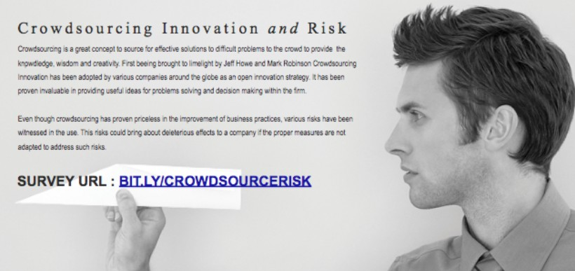Michael Gebert surveyed people who had used crowdsourcing to explore their perception on the risks that might be associated with it