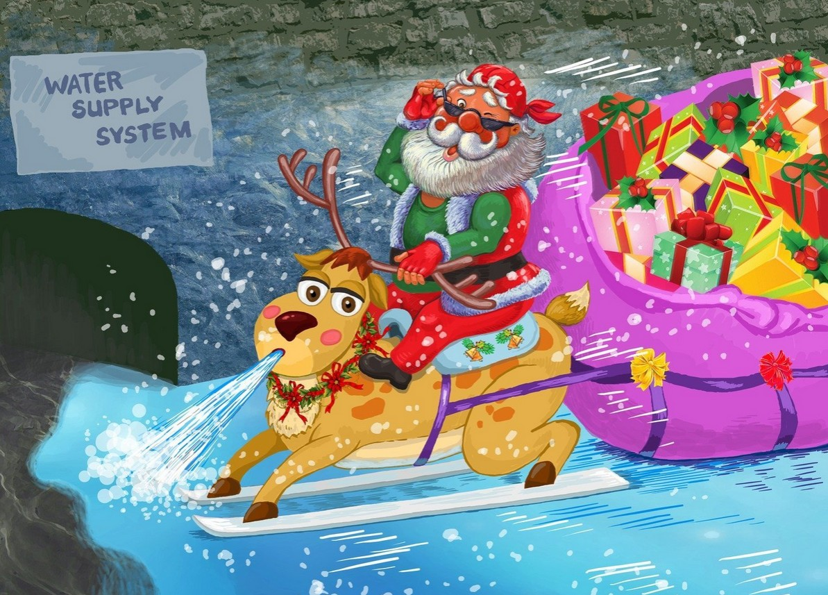 Santa travels through the water supply system. His reindeer helps him by freezing water, then he sends gifts through the tubes. (by Russian creator valerirr777 )