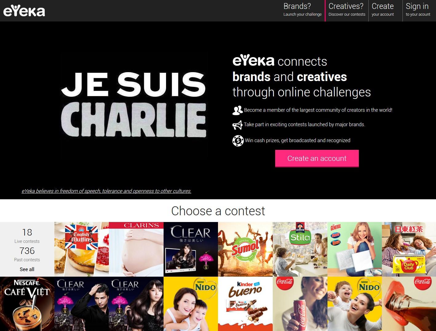 The #JeSuisCharlie-themed eYeka homepage in January