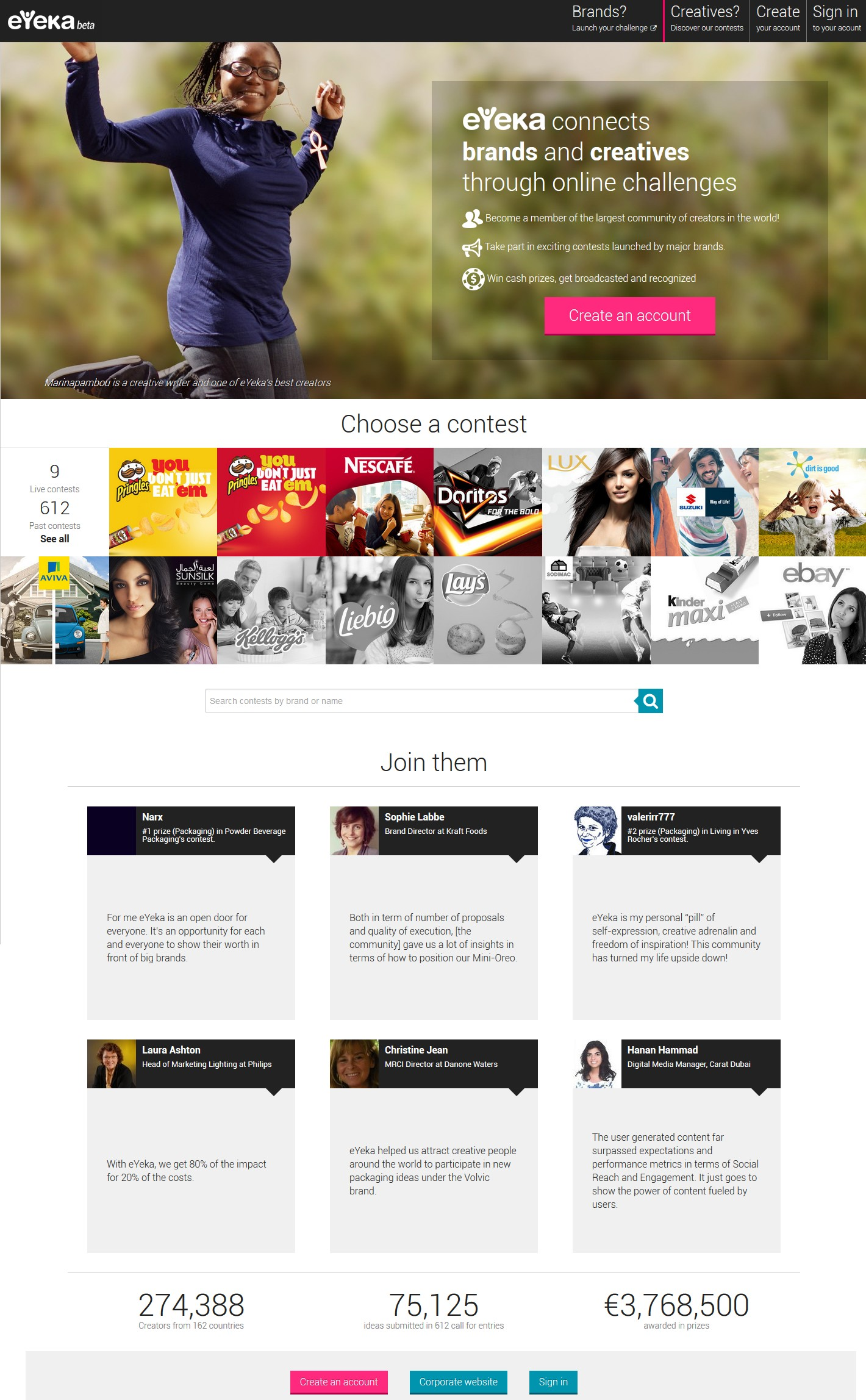 March 2014 - screenshot eyeka.pr.co press releases New eYeka Platform