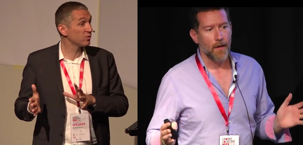 """François Pétavy (CEO) and Joël Céré (Insights & Innovation Director) presenting trends identified in """"The State of Crowdsourcing in 2015"""""""