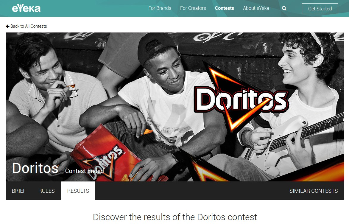 eYeka Doritos Innovation Contest Results Page